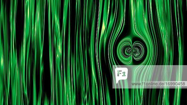Grüner Vorhang Stick Bewegungen und Two Sided Eye Circle auf der rechten Seite 3D-Illustration Wissenschaft Konzept