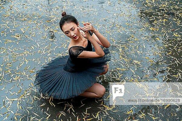 Black skirt dance ballet young woman