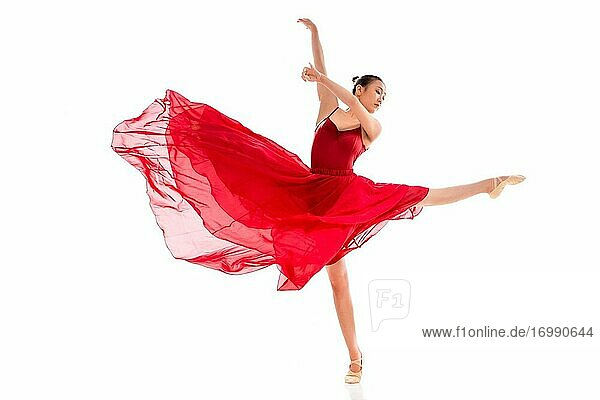 Dance ballet young woman in the red skirt