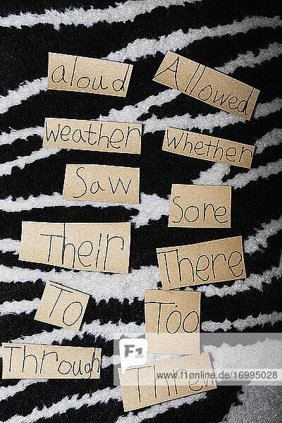 Homonyme auf Zettel nebeneinander geschrieben