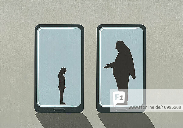Großer Geschäftsmann und kleine Frau auf Smartphone-Bildschirmen