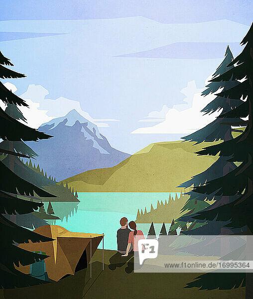 Verliebtes Paar entspannt sich auf einem idyllischen  abgelegenen Campingplatz am See