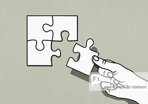 Handarbeitspuzzle mit fehlendem Teil