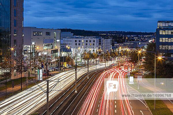 Germany  Baden-Wurttemberg  Stuttgart  Vehicle light trails along B 27 at dusk