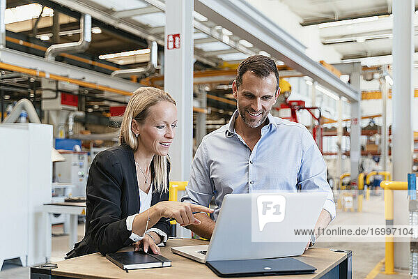 Smiling businessman and female entrepreneur using laptop at factory