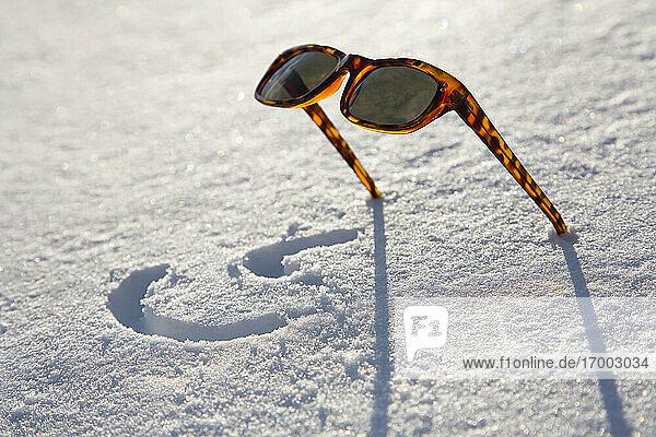 Sunglasses left in snow