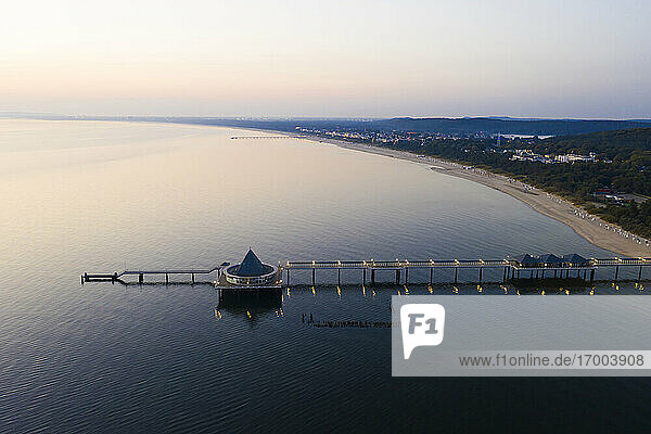 Germany  Usedom  Pier in sea at sunset  aerial view