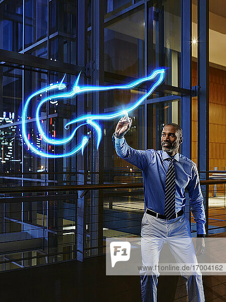 Mature male doctor light painting pancreas in laboratory at hospital