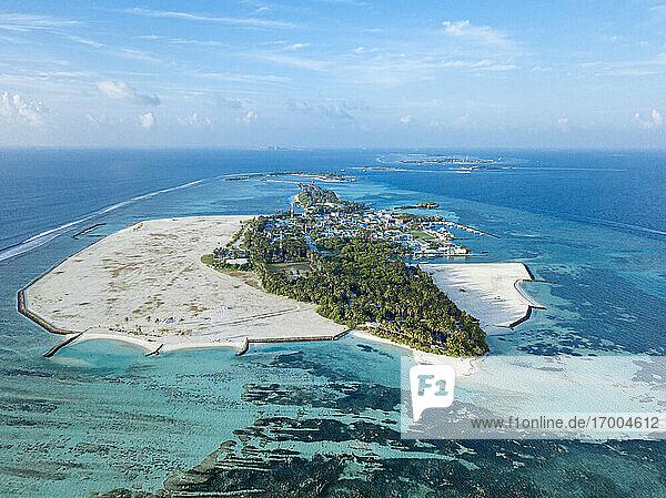 Maldives  Kaafu Atoll  Aerial view of Huraa island