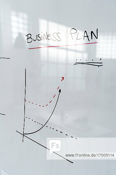 Business plan charts on office whiteboard