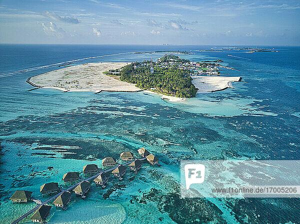 Maldives  Kaafu Atoll  Aerial view of tropical tourist resort on Huraa island