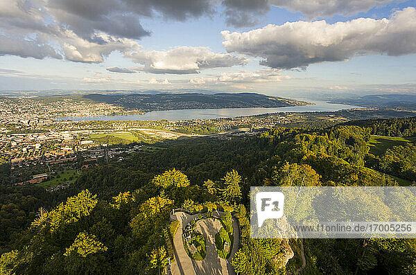 Switzerland  Canton of Zurich  Zurich  Green park and Lake Geneva seen from Uetliberg