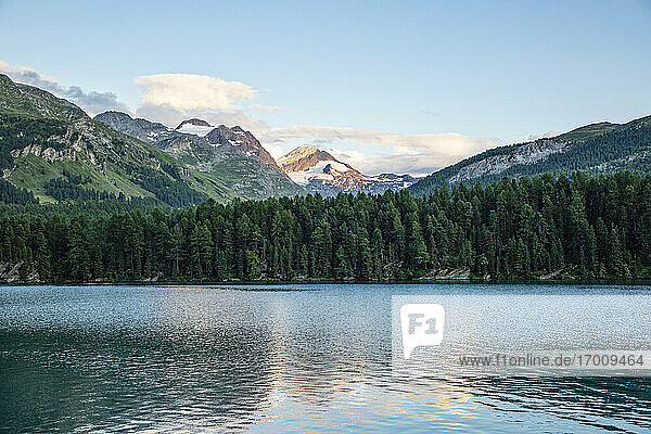 Scenic view of Lake Sils and Engadin valley