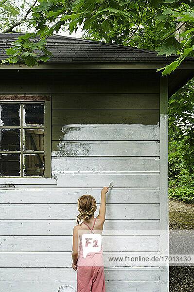 Mädchen (6-7) malt Hüttenwand