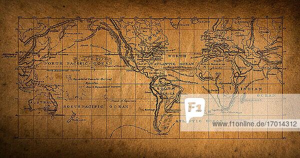 Weltkarte aus dem 19. Jahrhundert
