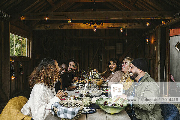 Cheerful woman enjoying with male and female friends during social gathering