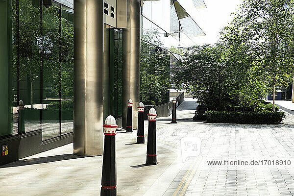 UK  England  London  Bollards in front of building entrance