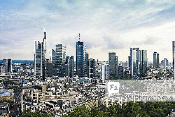 Germany  Hesse Frankfurt  Aerial view of downtown skyscrapers