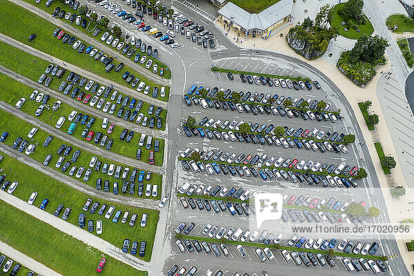 Germany  Bavaria  Schonau am Konigssee  Aerial view of outdoor parking lot filled with cars