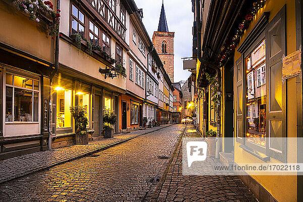 Germany  Erfurt  Old town Karmerbrucke street at dusk
