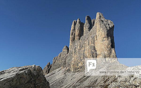 Italien  Venetien  Cortina D'Ampezzo  Dolomiten  Felsformation Drei Zinnen in den Dolomiten