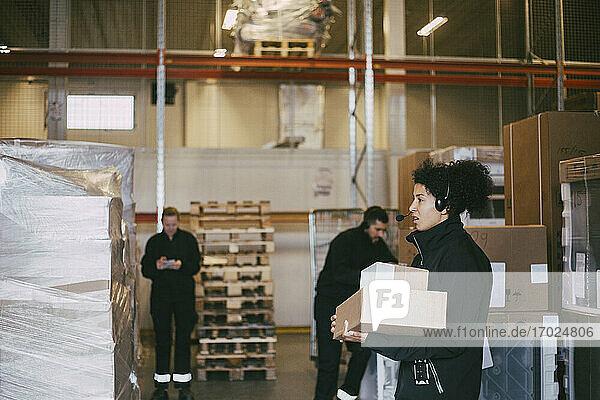 Unternehmerin hält Pakete und steht neben Kollegen im Logistiklager