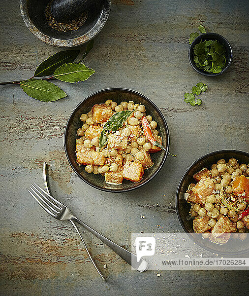 A pumpkin and chickpea medley with chilli