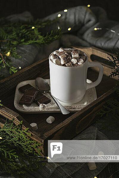 Tasse heiße Schokolade mit Mini-Marshmallows