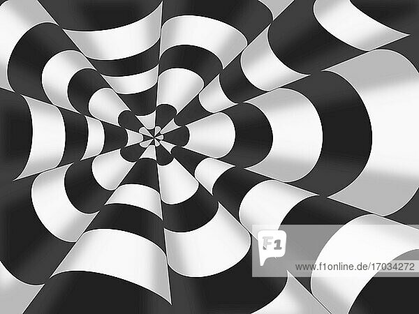 3d drawing of striped cones. Volumetric pattern of black and white striped cones. Geometric abstract pattern.