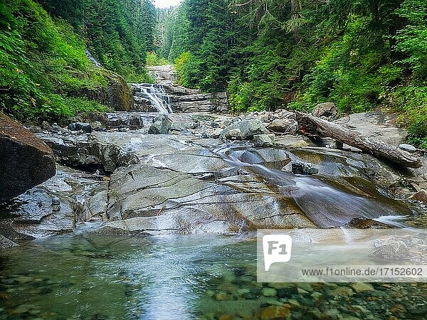 The Denny Creek Trail is extremely popular and for good reason!. A natural waterslide  two good sized waterfalls  lots of old growth forest mixed in with open areas with great views  and beautiful Alpine Lakes.