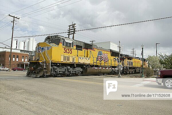 Union Pacific train in Caldwell  Idaho  United States.