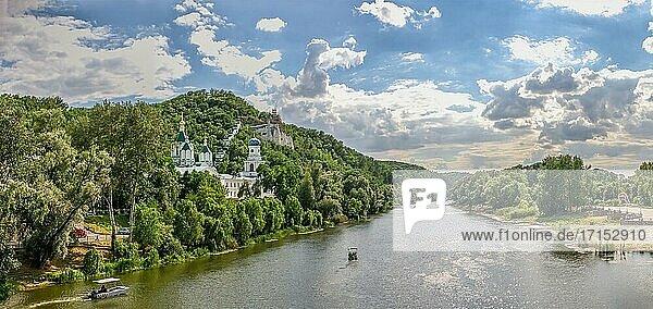 Svyatogorsk  Ukraine 07. 16. 2020. Seversky Donets River near the Svyatogorsk or Sviatohirsk lavra on a sunny summer morning.