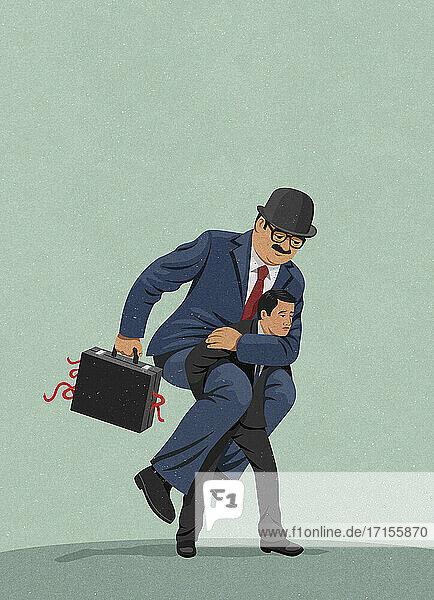 Geschäftsmann kämpft unter der Last der Bürokratie