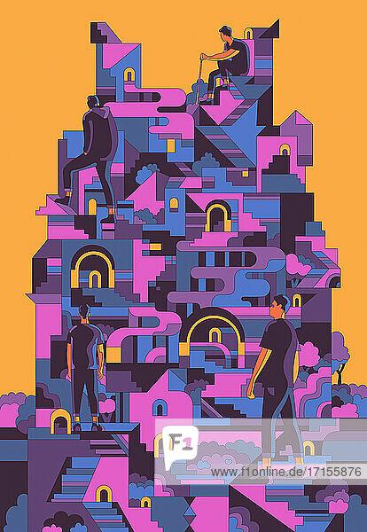 Männer klettern auf die Spitze einer abstrakten geometrischen Struktur