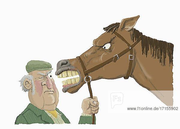 Bauer inspiziert Zähne eines wütenden Pferdes