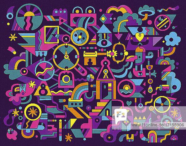 Abstraktes Muster aus Schlüssellöchern und Verbindungen
