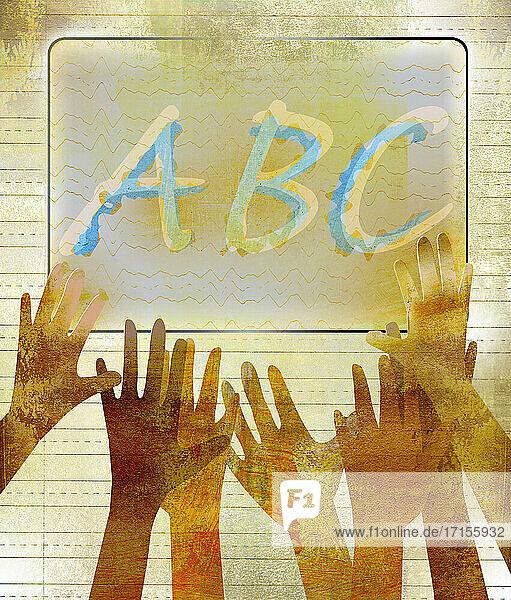 Hände greifen nach ABC auf dem Whiteboard