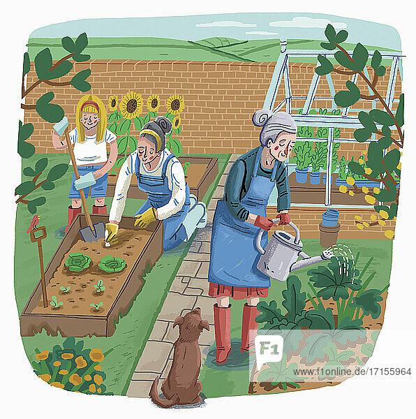 Drei Generationen gärtnern gemeinsam