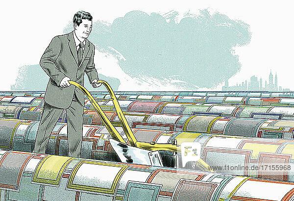 Geschäftsmann pflügt Feld der Aktienzertifikate