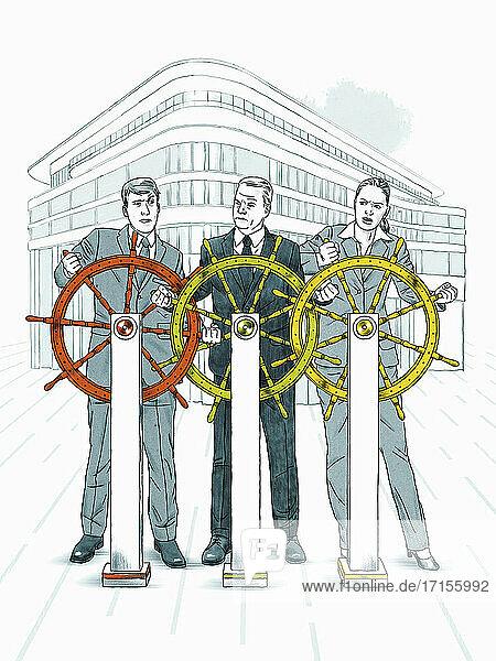 Geschäftsleute konkurrieren um die Kontrolle des Steuerrads