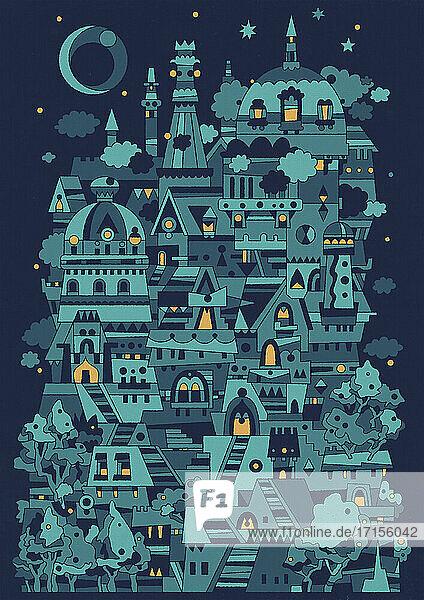 Komplexe abstrakte Hügelstadt bei Nacht