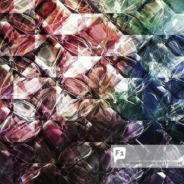Komplexe Lichtspuren überlagert von einem geometrischen Muster