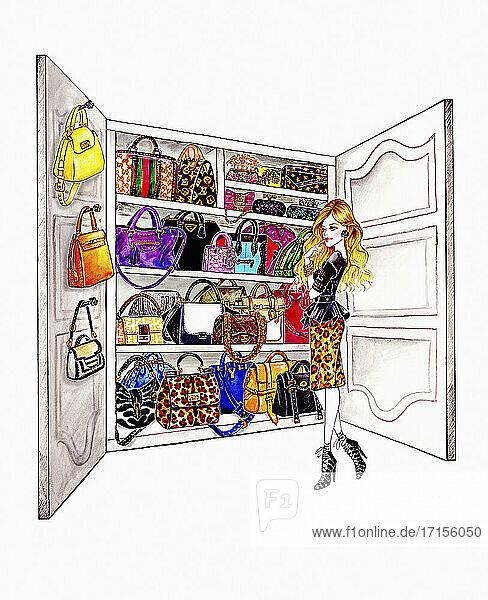 Frau wählt aus einem Schrank voller Handtaschen