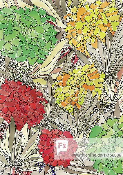 Große Blütenköpfe und Blattwerk