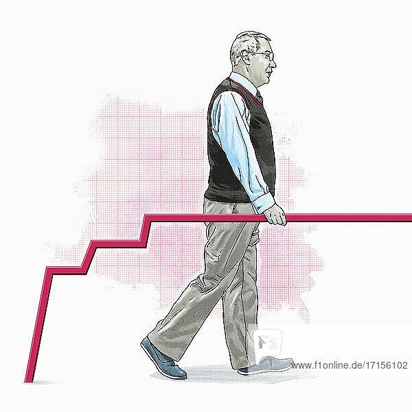 Älterer Mann benutzt Liniendiagramm als Handlauf