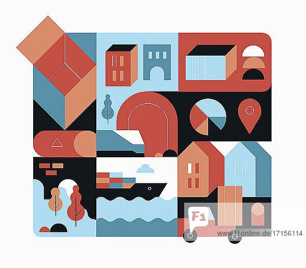 Globaler Versand und Logistik in geometrischem Muster