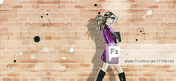 Modeillustration einer Frau mit Jacke und Stiefeln an einer Ziegelmauer