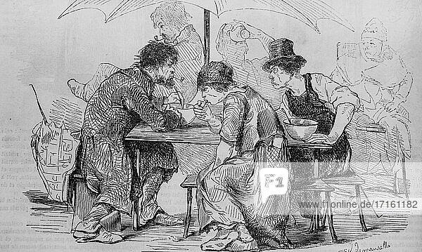 Le cafe du matin au halle  paris painting by edmond texier  editor paulin et le chevalier 1852.