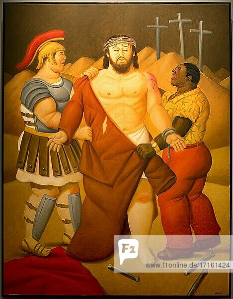 Fernando Botero  Via Crucis or The way of the Cross  Exhibition in Royal Palace of Palermo - Norman Palace  Palermo  Sicily  Italy  Europe  painting - The Spoliation of Christ - oil on canvas  2010  168 x 130 cm