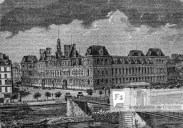 City hall  paris painting by edmond texier  publisher paulin et le chevalier 1852.